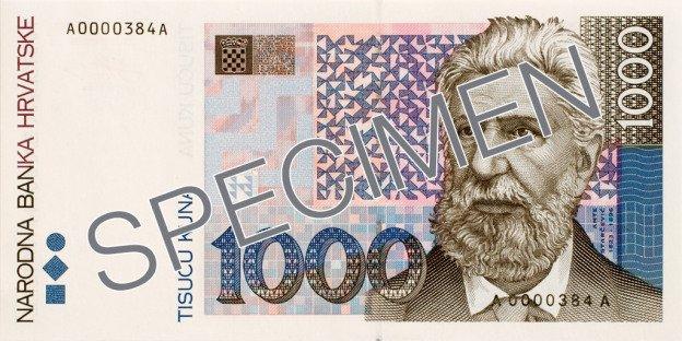 Waluta chorwacka - 1000 kun