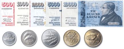 Korona islandzka (ISK) - monety i banknoty