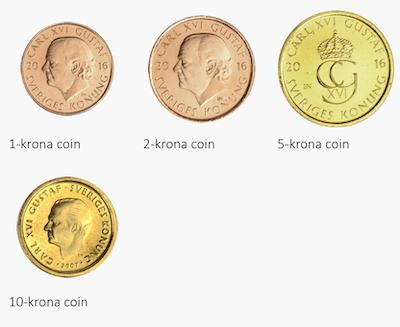Monety korony szwedzkiej o nominałach 1, 2, 5, 10 koron