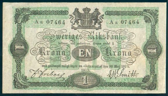 1 korona szwedzka z 1875 roku