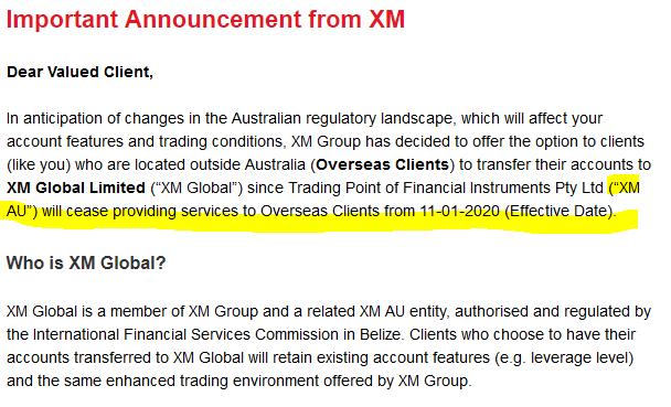 XM przenosi klientów pod regulacje