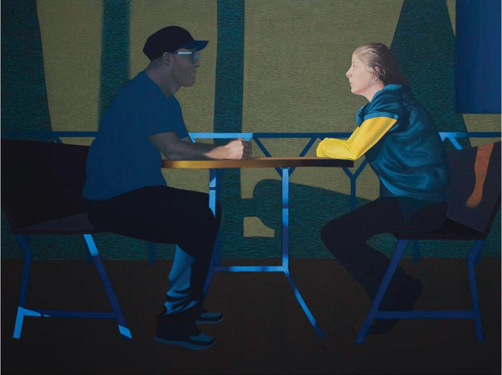 """Dariusz Milczarek """"Ona, on"""", 150x200 cm, tempera żółtkowa/płótno, 2015"""