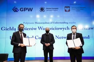 Podpisanie porozumienia o współpracy między UN Global Compact Network Poland i GPW