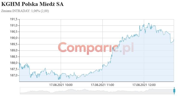 WIG20 dalej w trendzie wzrostowym, natomiast KGHM może przetestować 182 zł