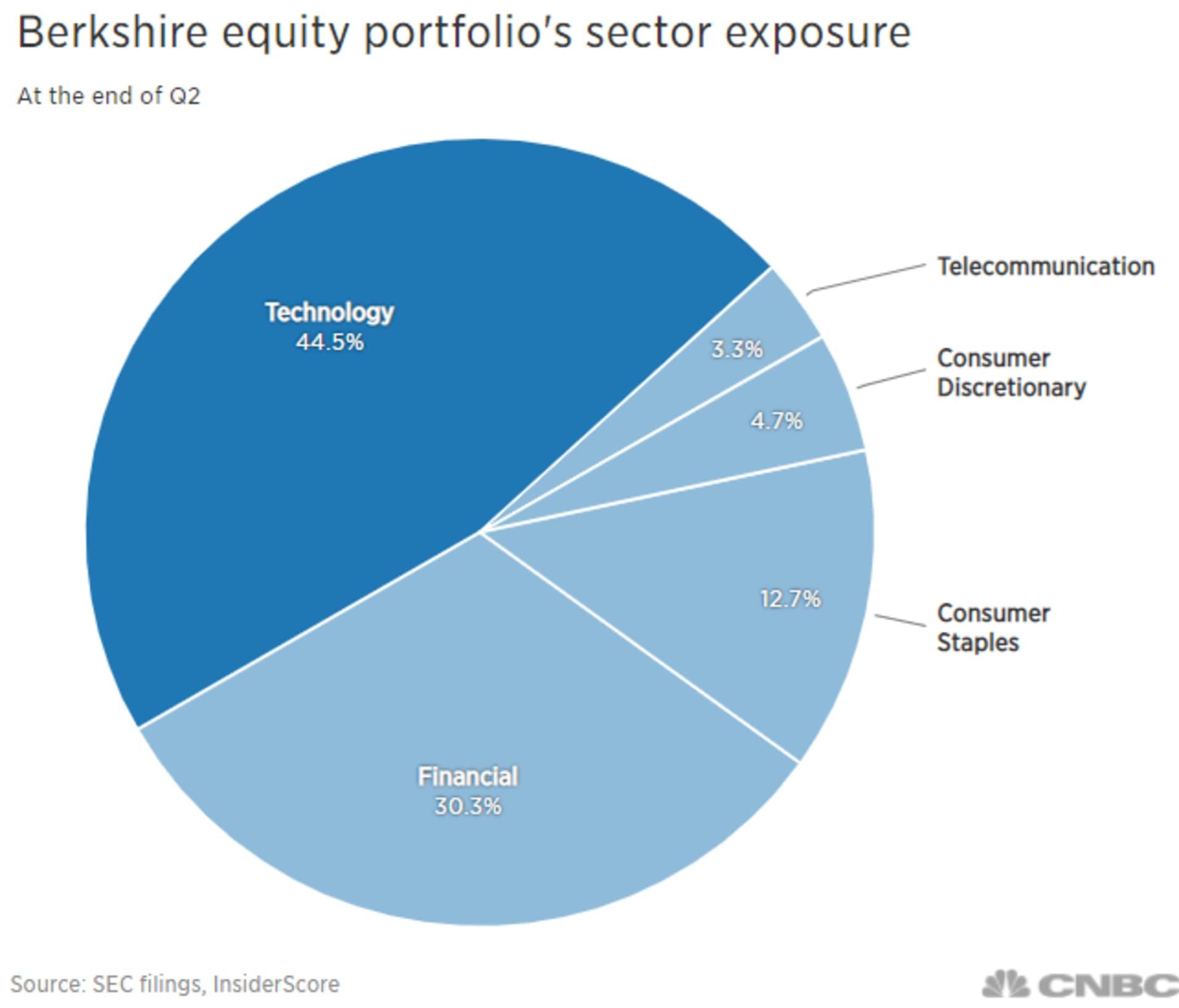 Portfel Berkshire Hathaway podzielony na poszczególne sektory gospodarki