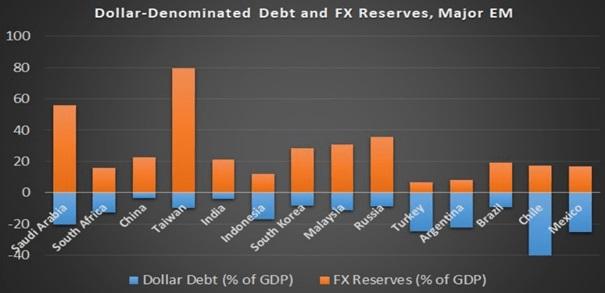 Wykres: Rezerwy walutowe (pomarańczowy) vs zadłużenie denominowane w dolarze (niebieski) w stosunku do PKB