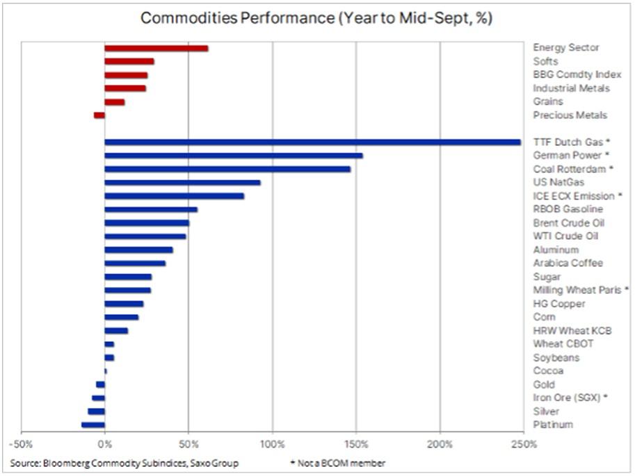Wykres rynków towarowych