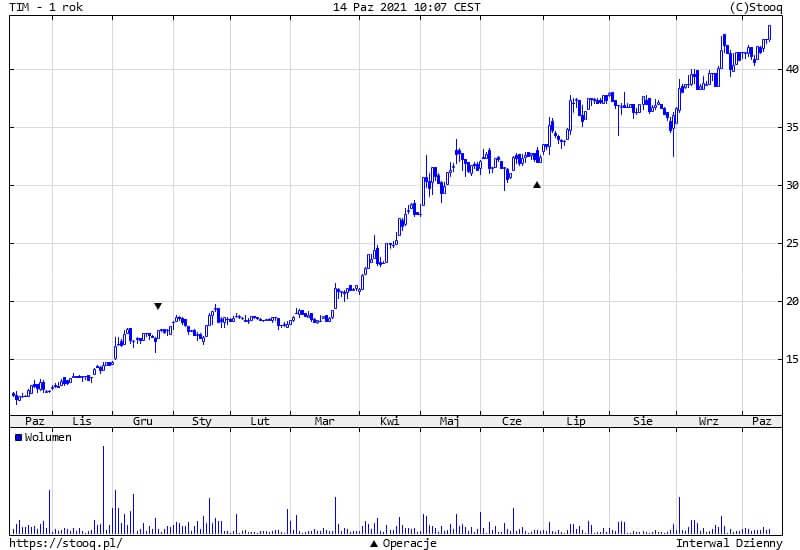 TIM z wyceną 62,30 zł od DM Noble Securities. Potencjał do wzrostów to blisko 50%